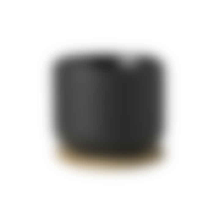 Stelton STELTON Theo Black Ceramic Coffee Cup With Wooden Coaster