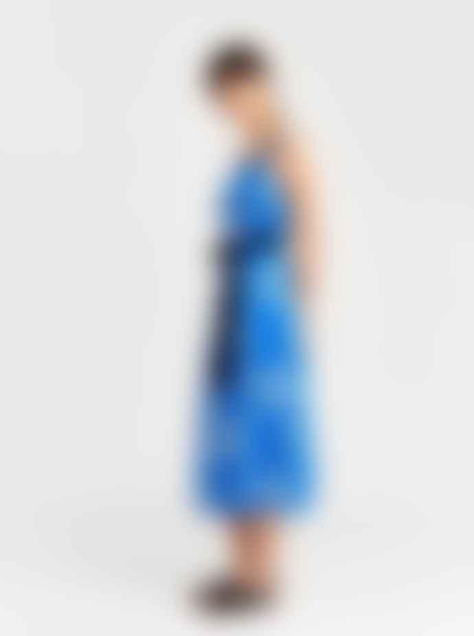 Bellerose Blue And White Vlan Print Sun Dress