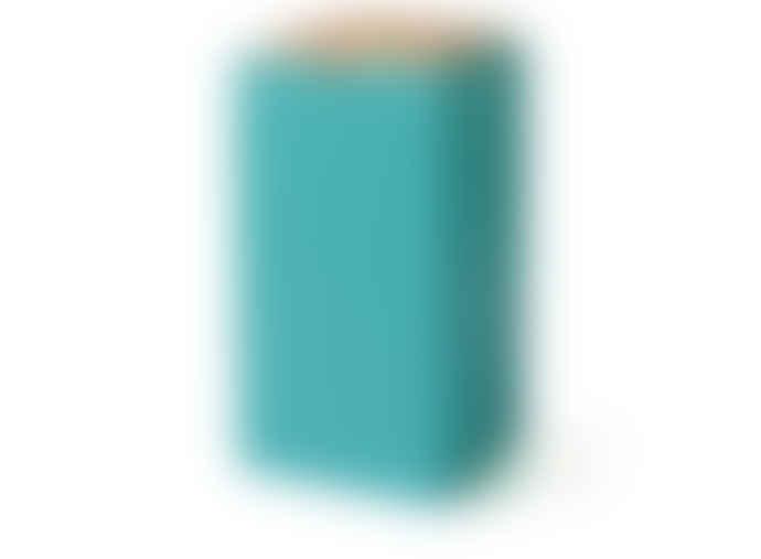 Korridor Pyramid Trinket Box, LARGE- Oak Dusty blue Neon orange and Turquoise