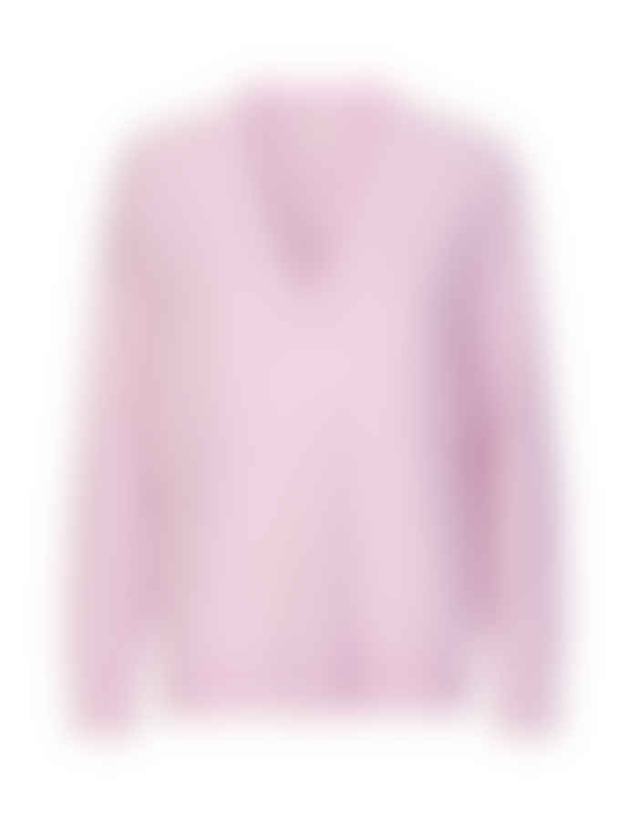 Levete Room Pale Pink Wool And Cashmere Mix Fine Knit V Neck Sweater