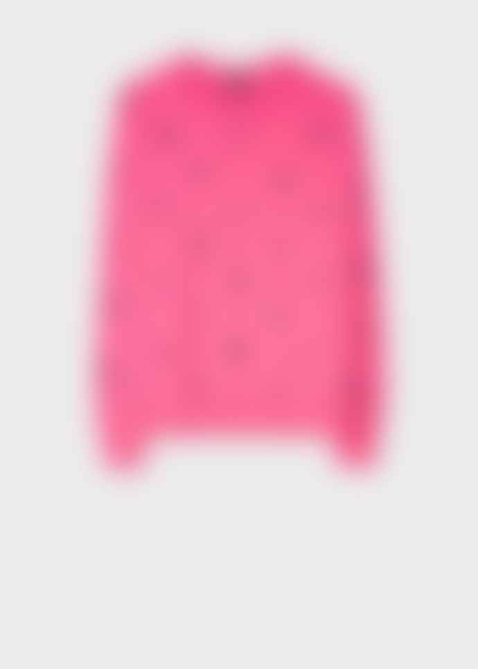 PS by Paul Smith Bright Pink Embroidered Motif Wool Blend Sweater