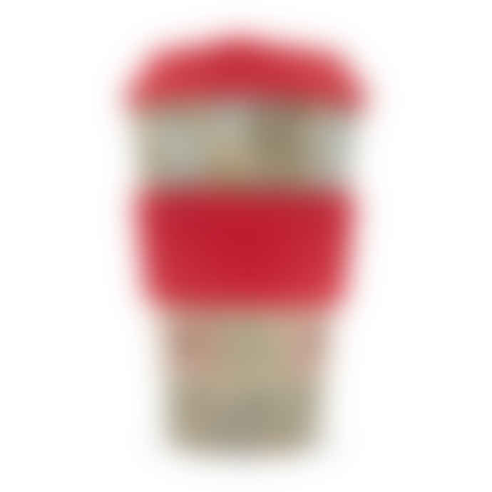 Ecoffee Cup William Morris Corncockle Reusable 14 oz Bamboo Coffee Cup With Red Silicone Sleeve And Lid