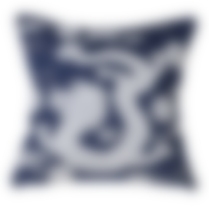 Marram Trading  Blue and White Embroidered Dragon Cushion