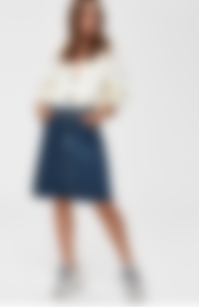 Selected Femme Freja High Waist Denim Skirt - Mid Blue