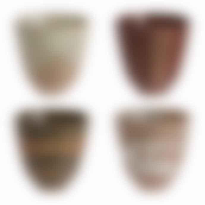 HK Living Set Of 4 Kyoto Ceramic Japanese Yunomi Handleless Mugs