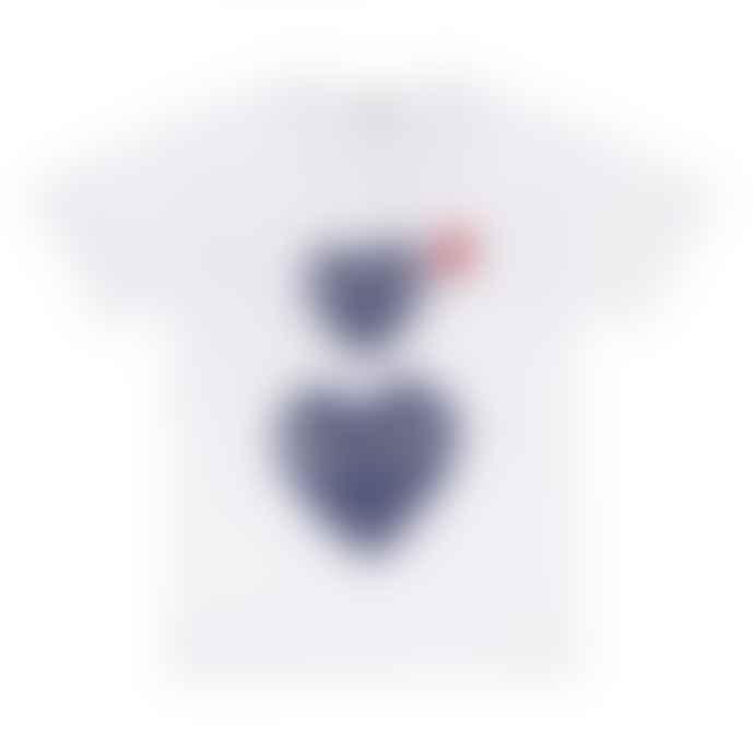 Comme Des Garcons Play Comme des Garçons Polka Dot Double Heart T-Shirt (White)