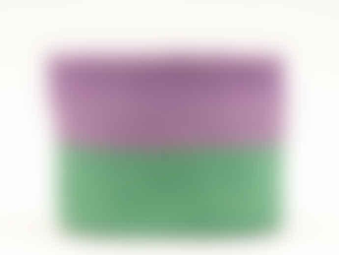 The Basket Room Medium Purple & Green Block Colour Woven Basket