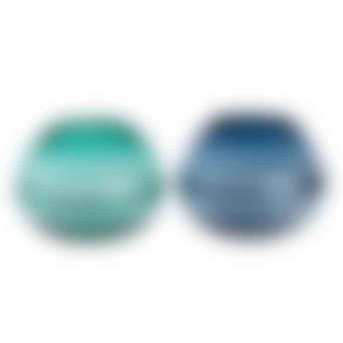 Large Sea Blue/Teal Blue Glass Bowl/Vase with Rim