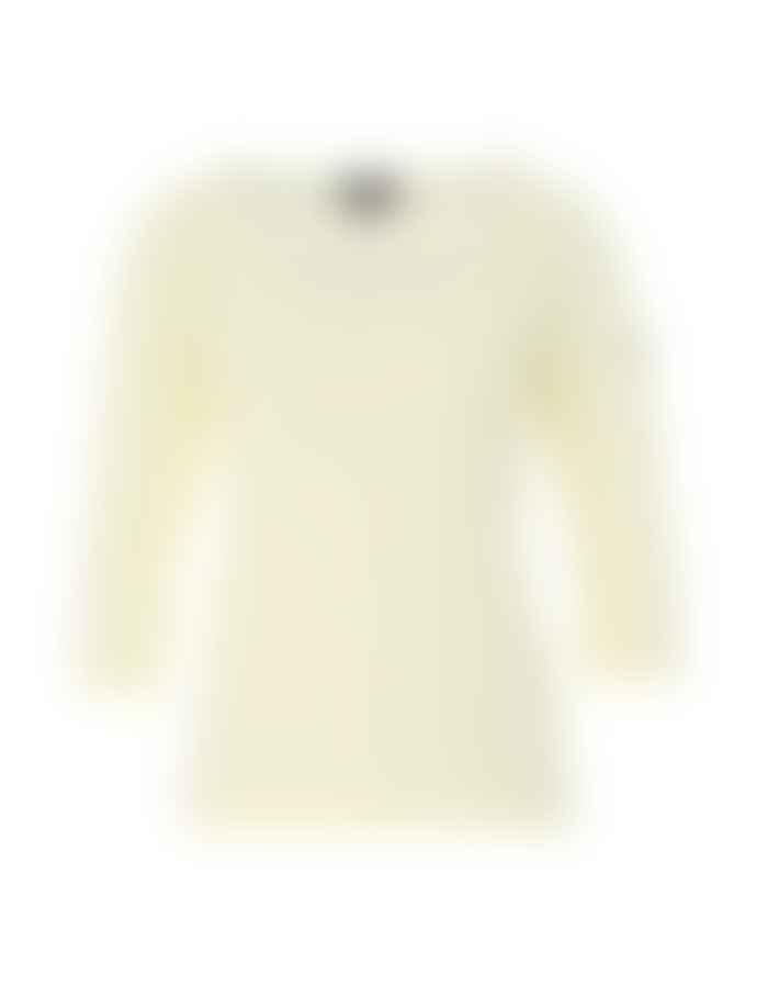"Breton Striped Light-weight 100% Cotton ""Cap Coz"" Sailor Shirt With 3/4 Sleeves in White/Crayon (White/Lemon Stripe)"
