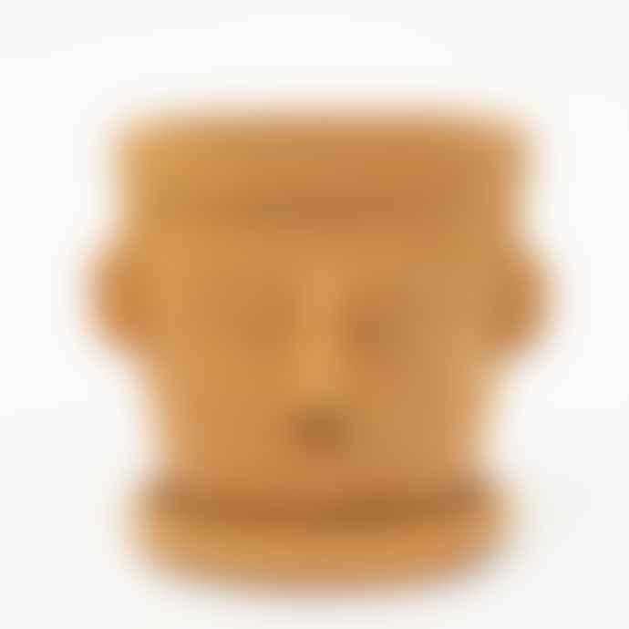 Afro Art Face Pot And Saucer