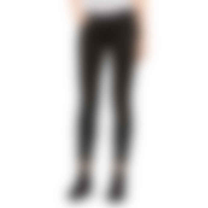 7 For All Mankind  The Skinny Black Crop Coated Sateen