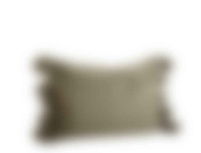 Madam Stoltz Olive Green Pure Cotton Cushion Cover with Tassels