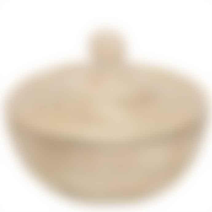 Afro Art White Sene Bread Basket With Lid