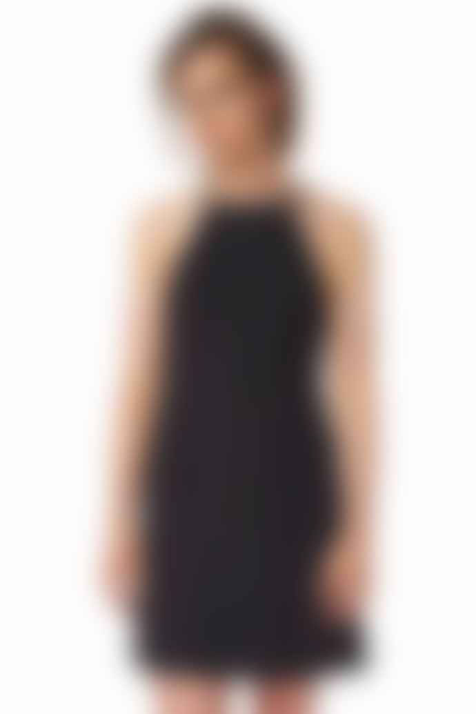 POP Copenhagen Black Georgette Open Back Dress