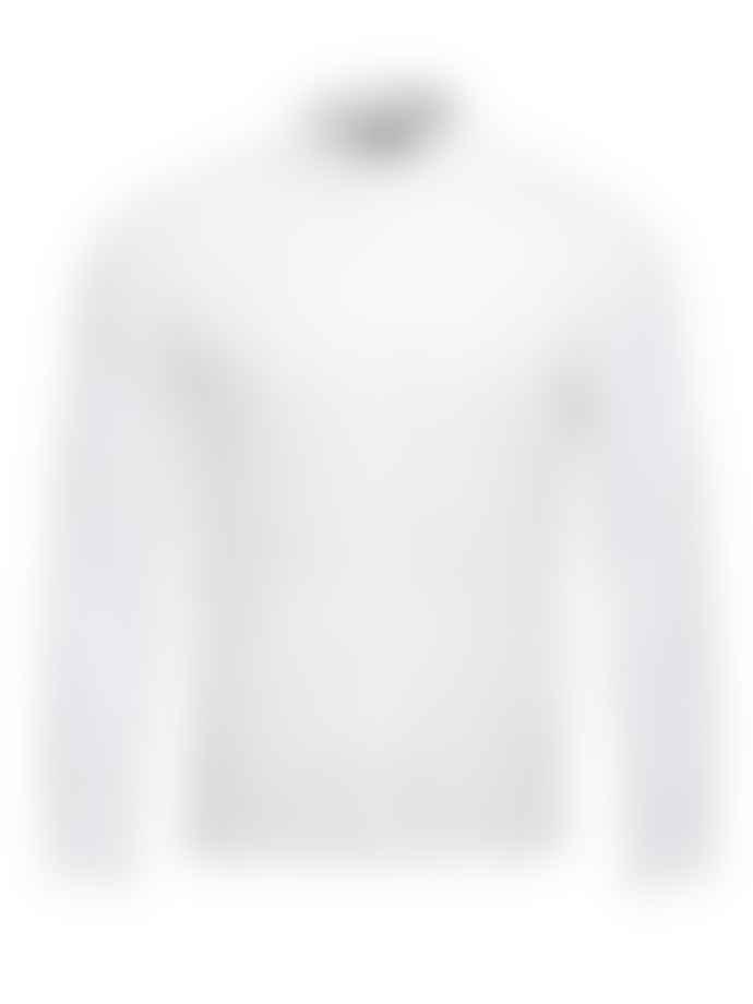 Canali White Mandarin Collar Linen Shirt