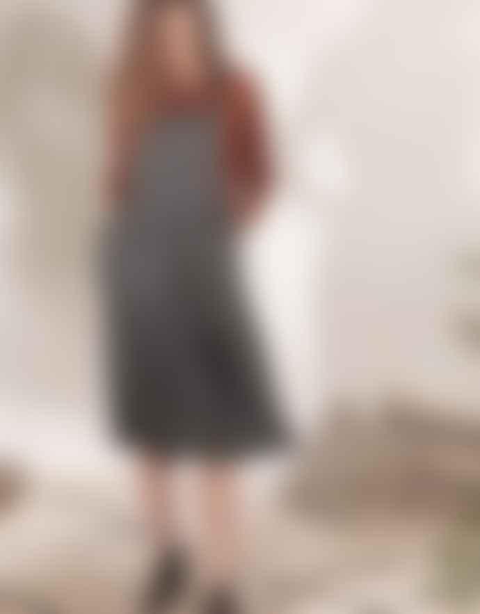 Louizon Gray Rust & Dark Blue Viscose Stripes Pearl Dress
