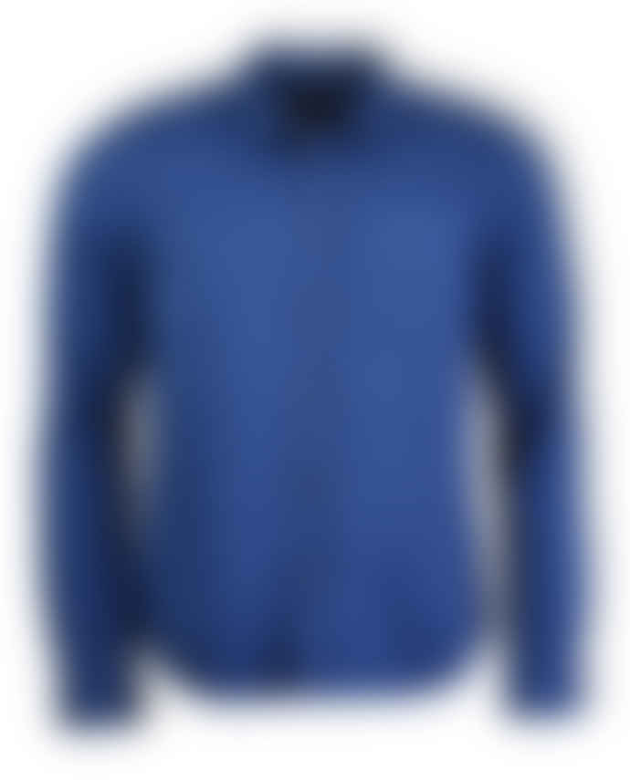 Nudie Jeans Oden Blue Henry Pigment Dyed Long Sleeved Shirt