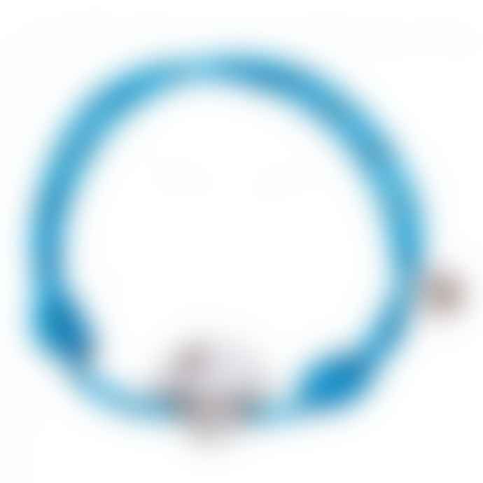 laf Large Cyan Cotton Adjustable Barbanegra Bracelet