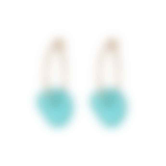 One & Eight Aqua Seaglass Gold Earrings