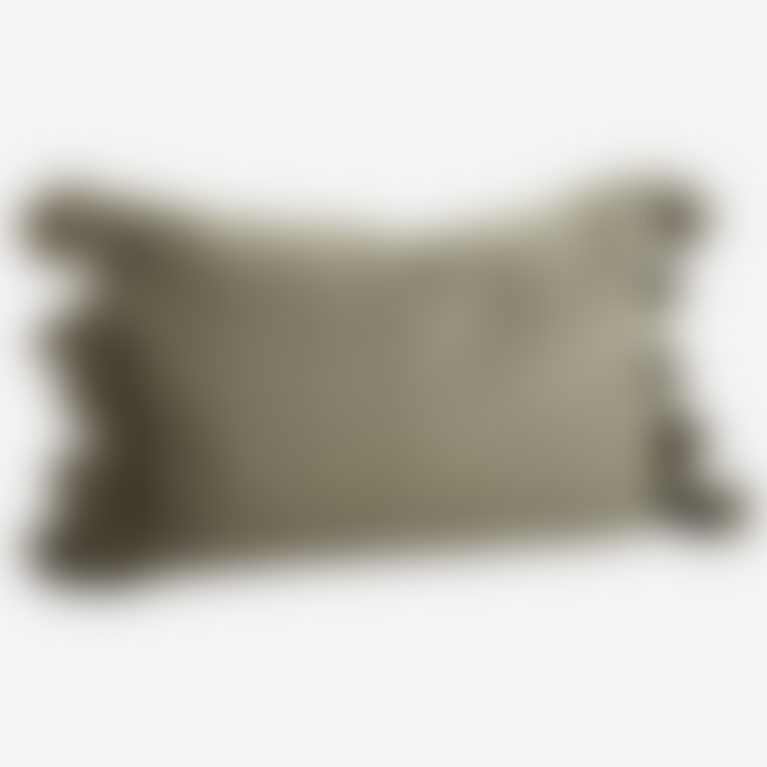 Madam Stoltz Olive Tassel Cushion Cover