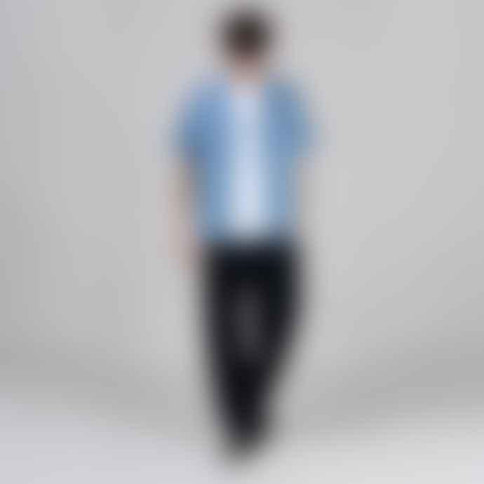 Folk Blue Short Sleeve Soft Collar Shirt Oxford Grid Ikat