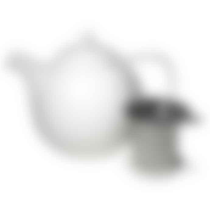 Forlife White Stainless Steel Porcelain Curve Teapot