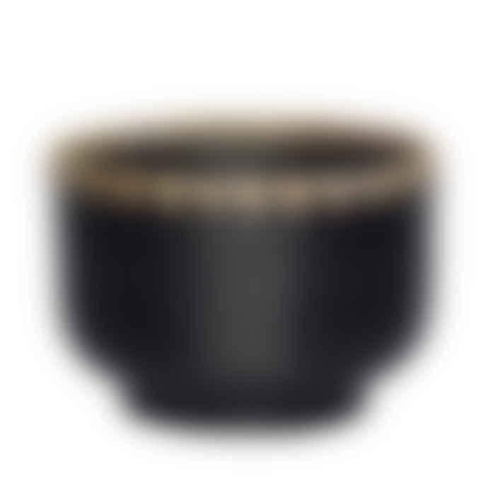 Large Rattan Bowl Planter or Storage Pot - Black + Natural