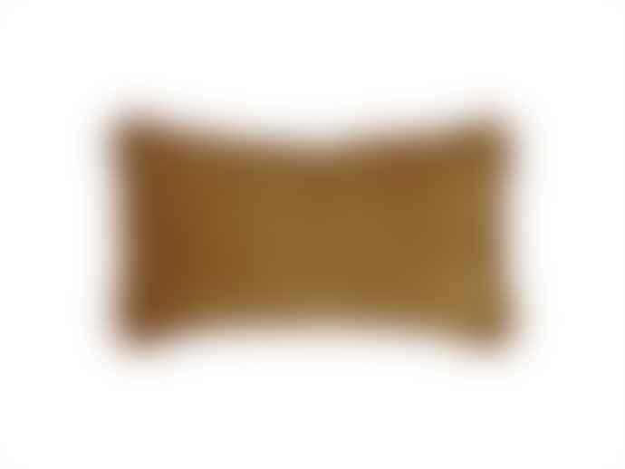 Present Time Cushion luxurious velvet fringes - Mustard