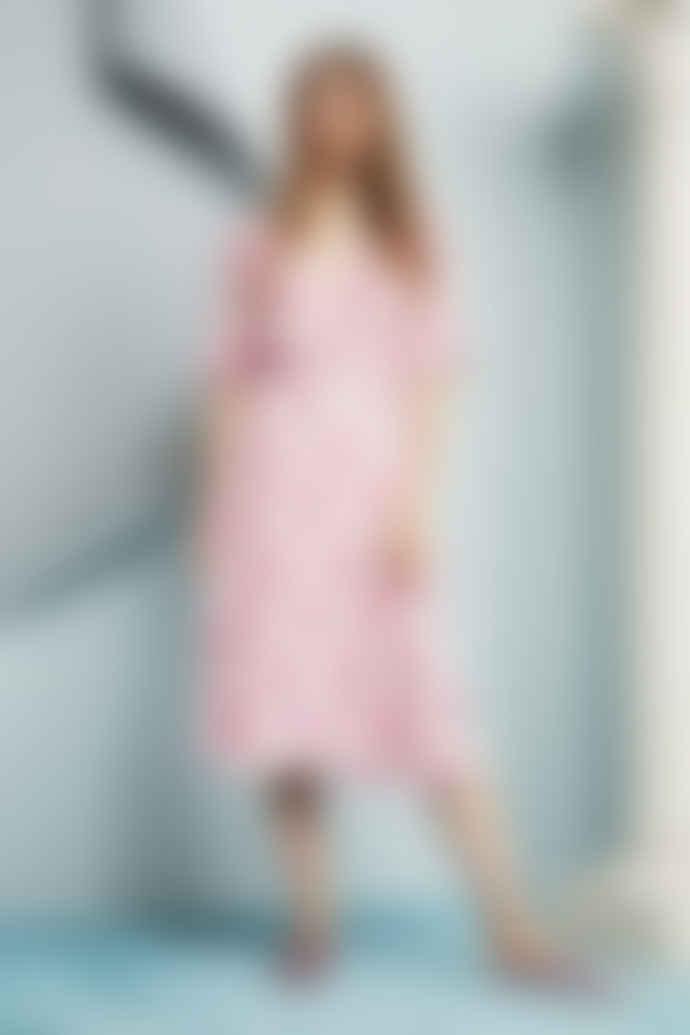 Fabienne Chapot Pink Palm Feather Print Mania Wrap Dress
