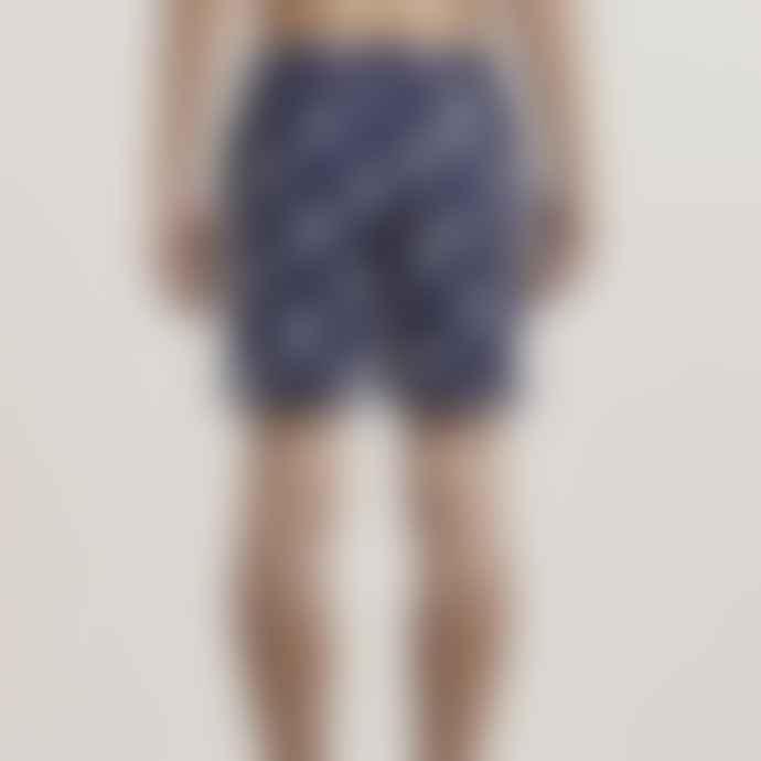 Bellfield Navy Palm Print Shorts