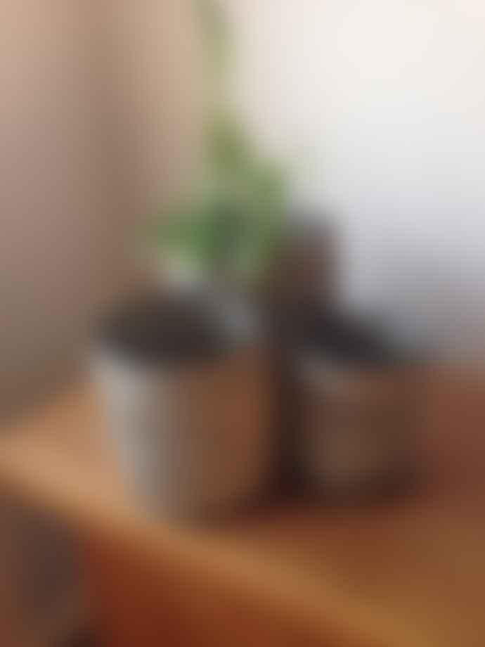 Wikholmform Natural/Black Stripe Jute Plant/Storage Basket (size S)