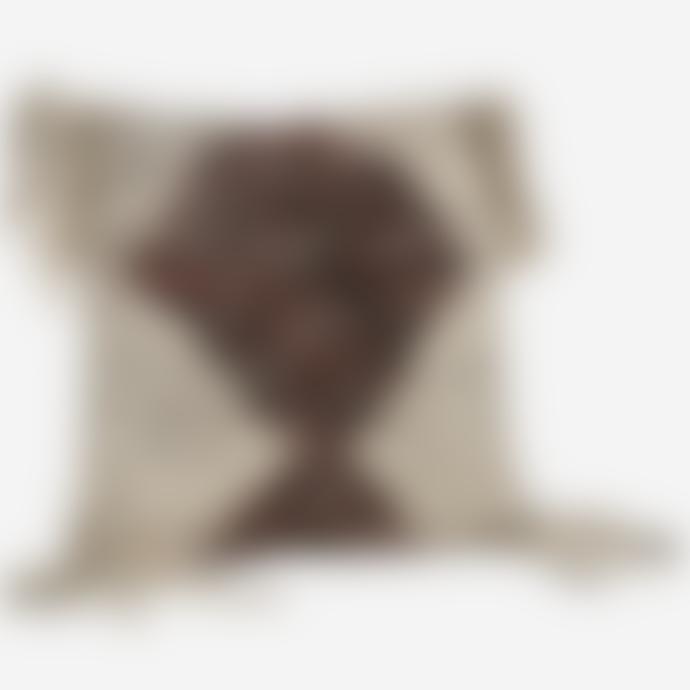 Madam Stoltz Large Texture Cushion With Fringe Tassel