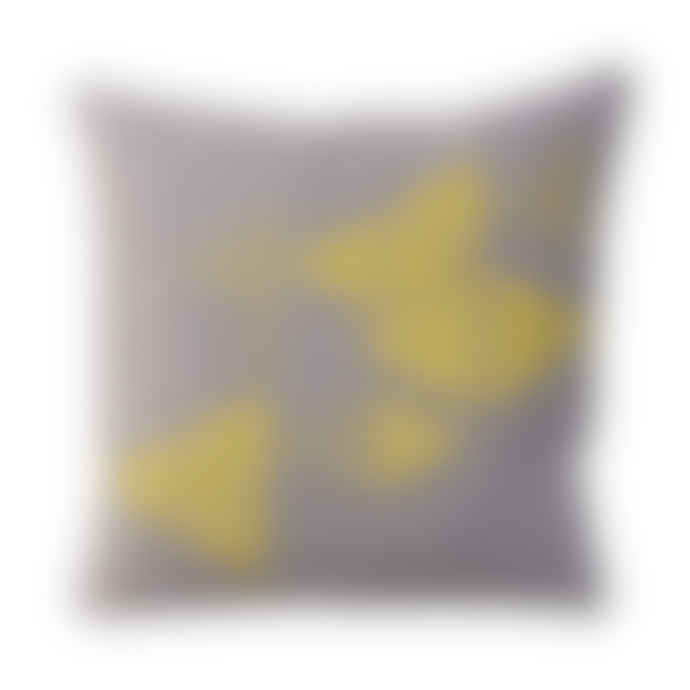 The Living Lounge Grey jersey cushion - Yellow/Teal print