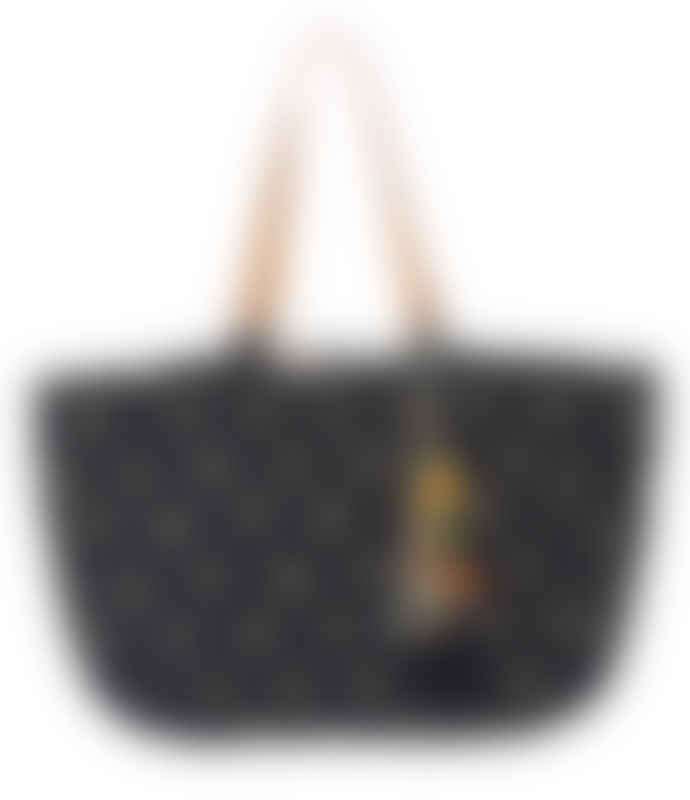 Star Mela Black Alohi Palm Print Tote Bag