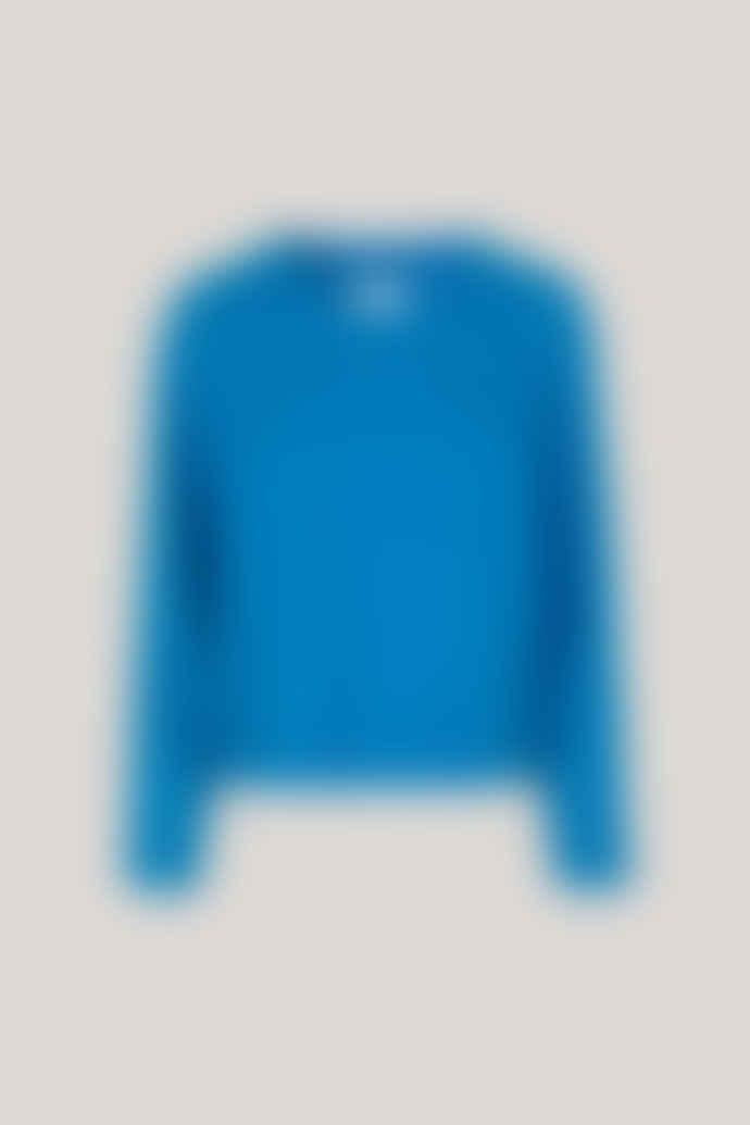 Samsoe & Samsoe Nor O Neck short sweater in Blue Aster Melange