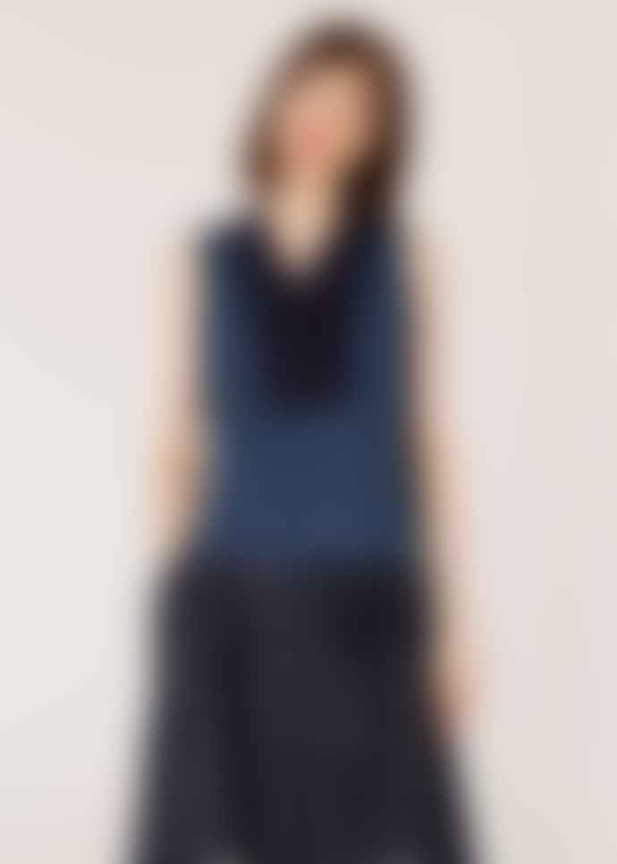PS by Paul Smith Women's Slate Blue Sleeveless Cotton Top With Bib Detail