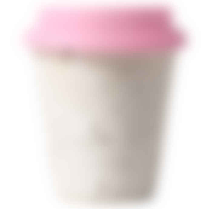 Erika Petersdotter Ceramic Take Away Cup white lava pink lid
