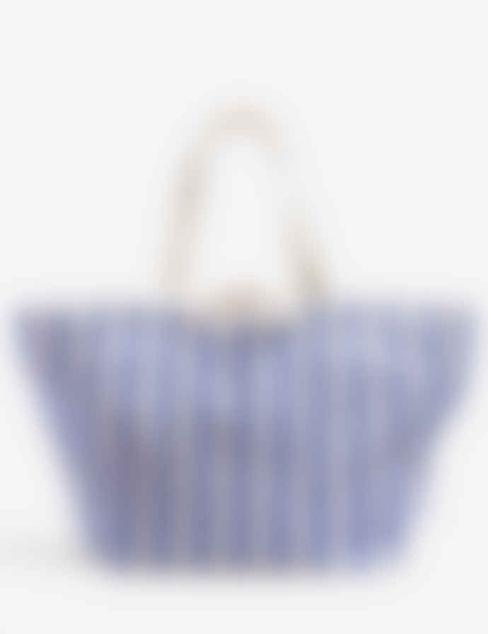 Baggu Blue Stripe Cotton Canvas Weekend Bag