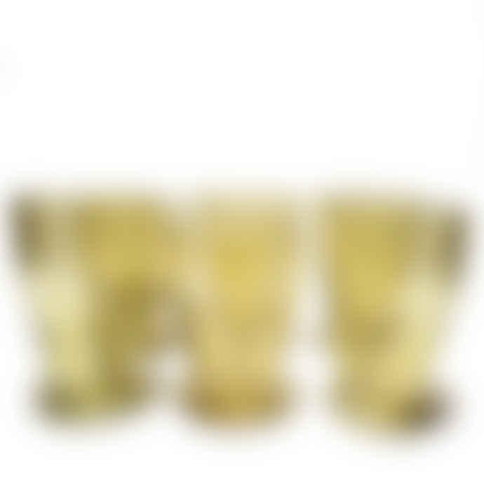 FAIR TRADE Set of 6 Ambar Mouth Blown Fair Trade Footed Glass