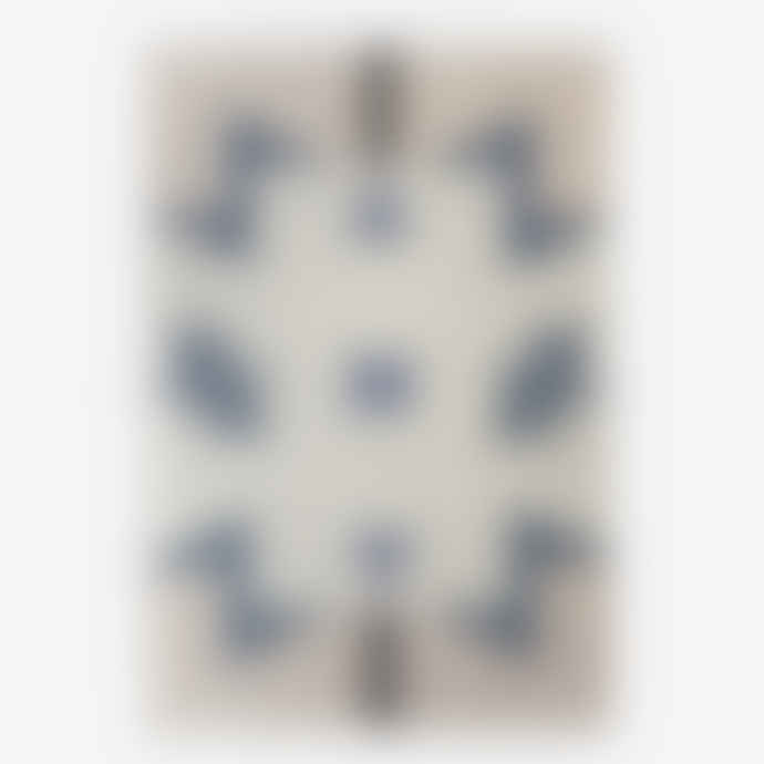 Ferm Living Blue Medium Triangles Wool Kelim Carpet