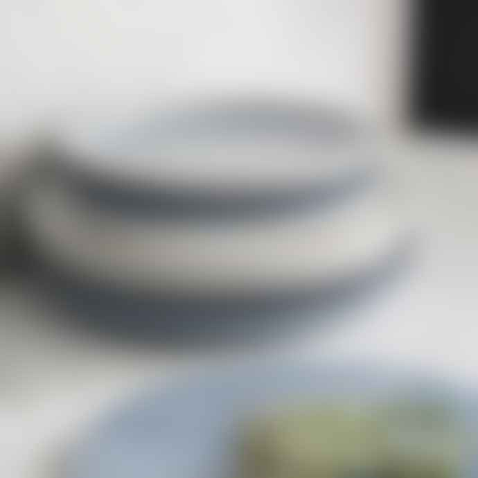 Denby Stoneware Studio Blue 4 Piece Coupe Dinner Plate Set