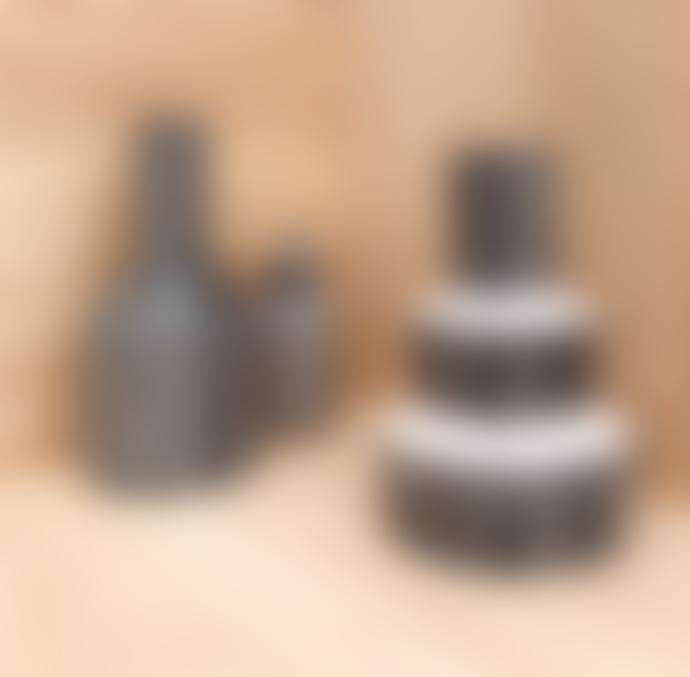 Casa Cubista Black Terracotta Stepped Vase