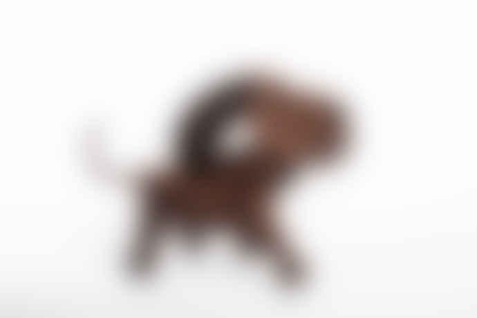 Architectmade 13 Cm Walnut And Leather Bobby Dog Figurine