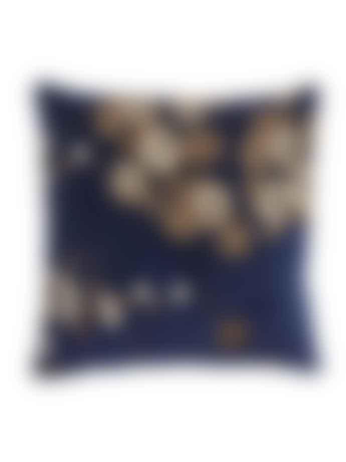 Nordal Embroidered Velvet Floral Cushion
