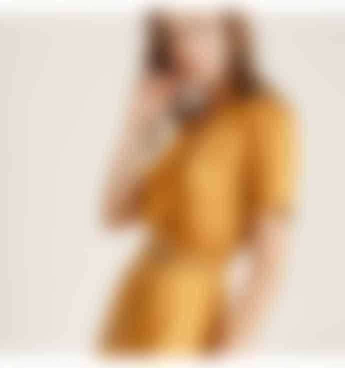 SUNCOO Yellow Short Sleeve Midi Dress