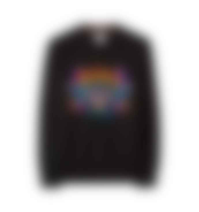 Paul Smith Men's Black Embroidered 'Dreamer' Cotton  Sweatshirt