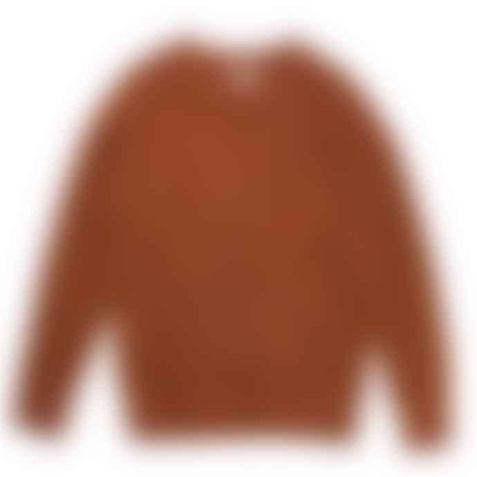 Hartford Rust Waffle Crew Sweater