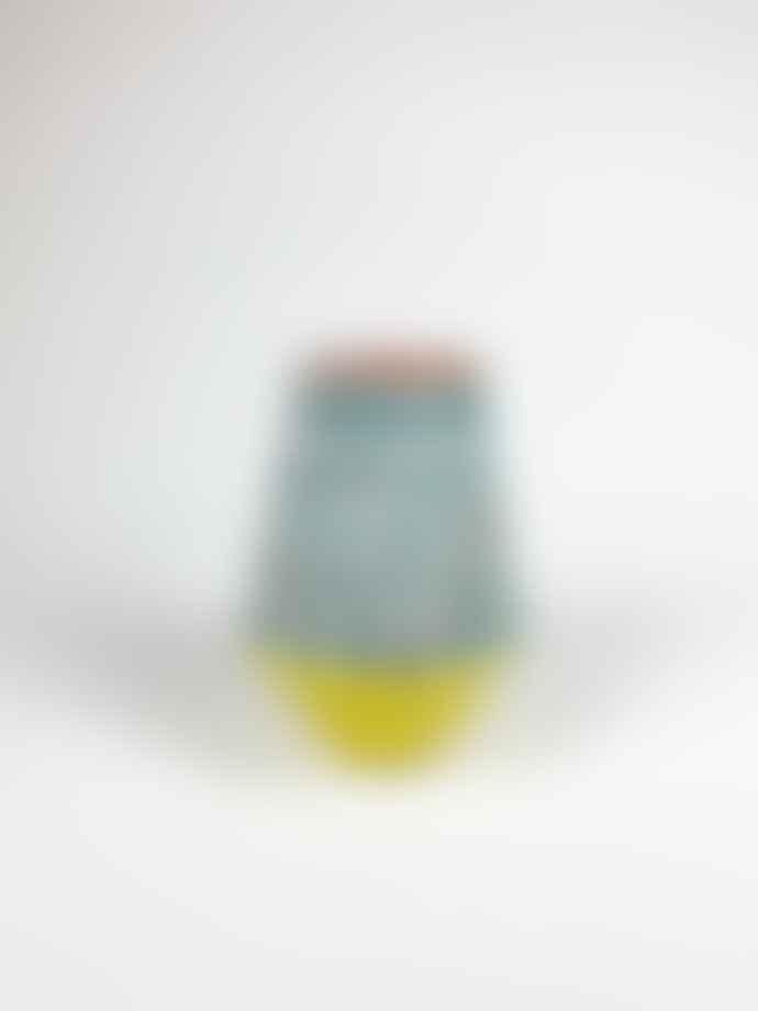 Pura Cal Small Terracota Yellow & Ocean Green Brushstrokes Vase