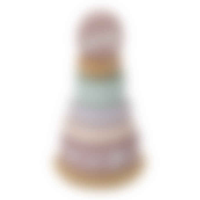 Little Dutch 10.7 x 10.7 x 22.5cm Adventure Pink Wooden Tumbler Pyramid Toy