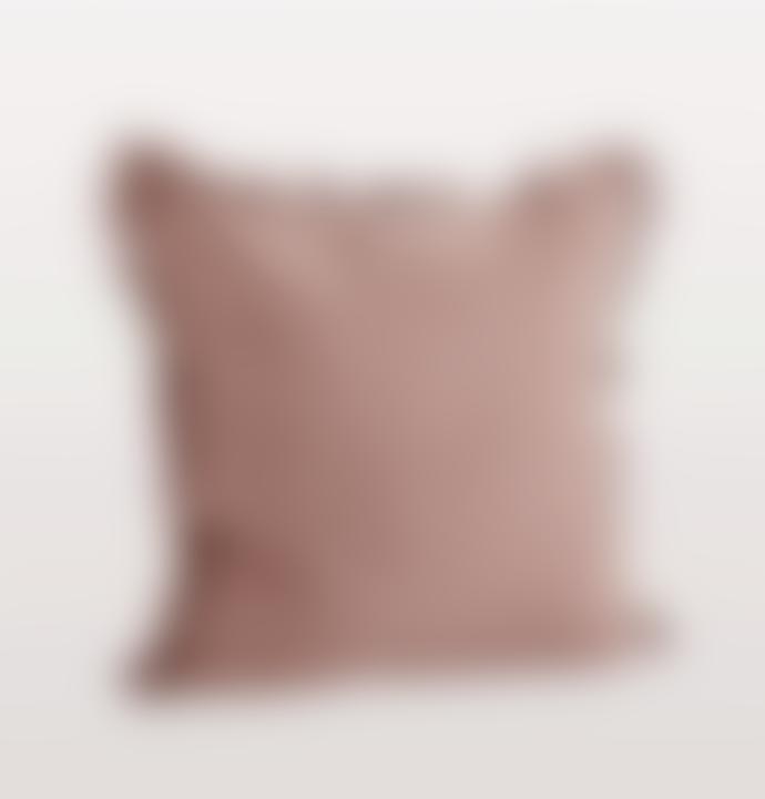 Madam Stoltz Rose Pink Linen Cushion With Fringe